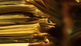 Close up of stacks of paper in the archive stock footage