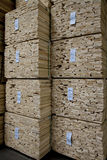 Close-up of stacks of plywood in warehouse Stock Photo