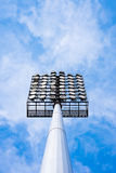 Close up of stadium lights with blue sky background Royalty Free Stock Photo