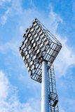 Close up of stadium lights with blue sky background Royalty Free Stock Image