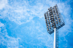 Close up of stadium lights with blue sky background Stock Images