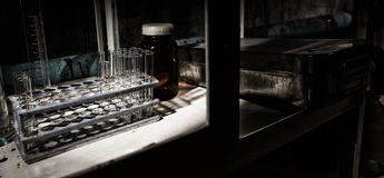 Close up of stained laboratory with test tubes holder and other Royalty Free Stock Image