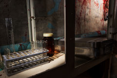 Close up of stained laboratory with test tubes holder and other Royalty Free Stock Photo