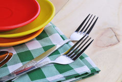 Close-up of stainless fork and spoon on table Royalty Free Stock Photo