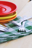 Close-up of stainless fork and spoon on table Royalty Free Stock Image