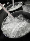 Stainless steel glass with ice. Close up stainless steel glass with ice Royalty Free Stock Image