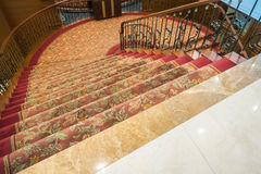 Close up of Staircase covered with carpet . Royalty Free Stock Photo