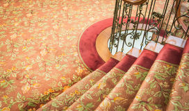 Close up of Staircase covered with carpet . Stock Photography
