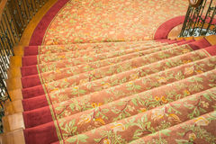 Close up of Staircase covered with carpet . Royalty Free Stock Images