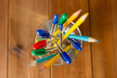 Close up of stand or glass with pens and pencils Stock Photo