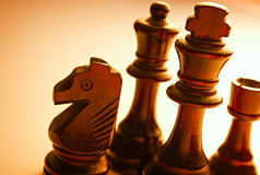 Close up Standing Wooden Black Chess Pieces Royalty Free Stock Image