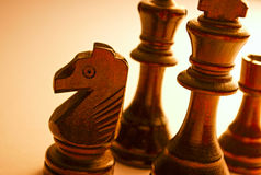 Close up Standing Wooden Black Chess Pieces Stock Image