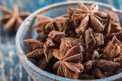 A bowl of star anise royalty free stock images