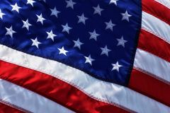 Close up of Old Glory waving in the wind stock image