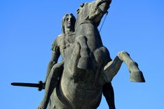 Close up of statue of Alexander the Great, Thessaloniki Greece stock photos