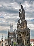 Close up on a statue of Charles bridge, Prague Stock Photography