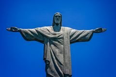 Close up of Statue of Christ The Redeemer, Corcovado Mountain, Rio de Janeiro, Brazil royalty free stock image
