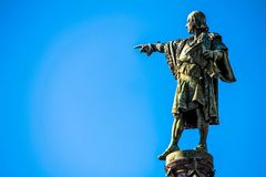 Close up of the Statue of Christopher Columbus stock photography
