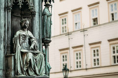 Close up of statue Of Czech King Charles Iv In Royalty Free Stock Photography