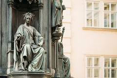 Close up of statue Of Czech King Charles Iv In Prague, Czech Royalty Free Stock Photos