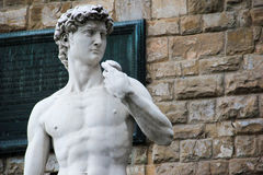 Michelangelo's sculpture of David in Florence, Italy. Close up of statue of David by Michelangelo, Florence Stock Photos
