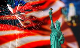 CLOSE UP OF STATUE OF LIBERTY WITH BLUR AMERICAN FLAG. In the New York City, independence, day, memorial, usa, freedom, immigration, symbol, patriotism royalty free stock photography