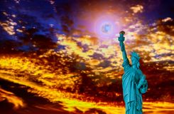 Close up of the statue of liberty at sunset Independence day. Close up of the statue of liberty panorama with at sunset Independence day, freedom, nyc, sky, usa stock image