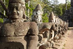 Close up statue oldest khmer soldiers Stock Image