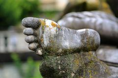Close up of statue's foot Royalty Free Stock Image