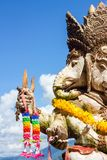 Close-up statute of Ganesha outdoor against blue sky and white c Royalty Free Stock Photography