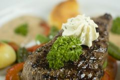 Close-up of steak. A close-up picture of a nice steak royalty free stock images