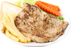 Close up steak with vegetable Stock Images