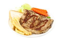Close up steak with vegetable Stock Photography