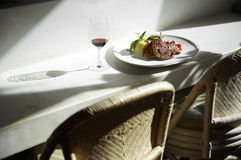 Close up steak and wine Stock Photos