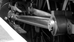 Close up of steam engine wheels B&W  4K stock video