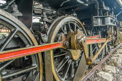 Close up of steam locomotive piston and rod mechanism Royalty Free Stock Image