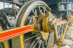 Close up of steam locomotive wheel showing con rod Royalty Free Stock Photo