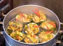 Steamed fish with curry paste. Stock Image