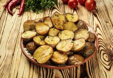 Close up of steaming hot baked potato,Hot buttered jacket baked Royalty Free Stock Photos