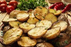Close up of steaming hot baked potato,Hot buttered jacket baked Royalty Free Stock Images