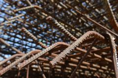 Close up of steel bar on construction site Stock Photos