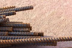 Close up steel rebar for reinforcement concrete royalty free stock image