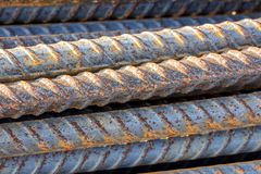 Close up steel rebar for reinforcement concrete royalty free stock photo