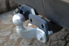 Drum ball of a car. Close up on a steel remroque fastener of a car stock photo