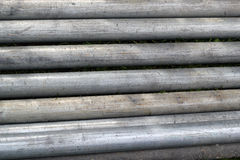 Close up of steel scaffold poles. Royalty Free Stock Image