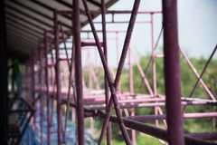 Close up steel structure frame. Close up steel structure frame of a construction building Royalty Free Stock Images