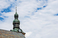 Close-up of steeple in Saint Jean Baptiste` church in Megève. A famous ski resort located in Haute-Savoie Province, near the Mont Blanc French Alps royalty free stock photos