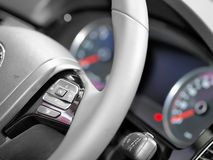 Close up of steering wheel commands Stock Photos