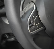 The close up of steering wheel commands. Taken during the International Motor Show in Belgrade Royalty Free Stock Image