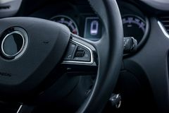 Control buttons on steering wheel stock photo
